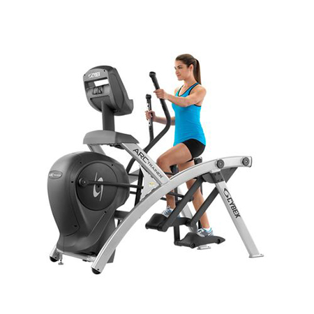 Woman using the Cybex equipment